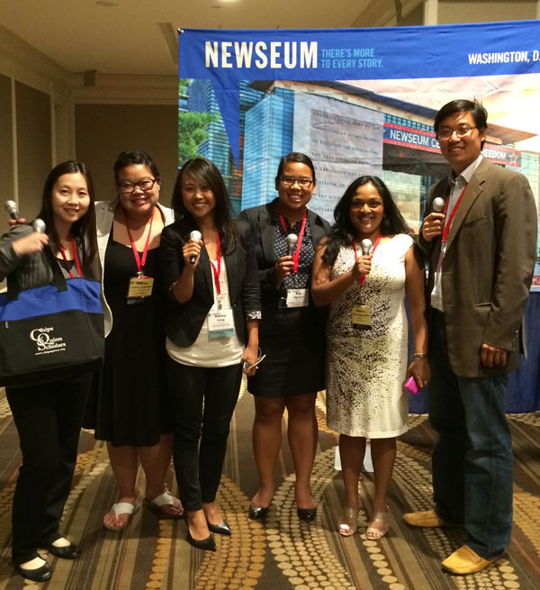 From left, Jodie Lau; Emma Carew Grovum (Summer 2009), homepage and social media editor for Foreign Policy; Nancy Yang (Spring 2003), national news editor for Internet Broadcasting in St. Paul, Minn.; Kay Nguyen (Summer 2011), graduate student at Columbia University; Meena Thiruvengadam; and Sean Jensen (Summer 1996), managing editor for Thrive Sports in Minneapolis.