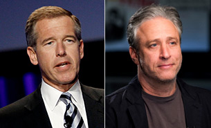 Brian Williams and Jon Stewart