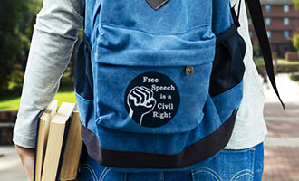 Free Speech, campus, backpack